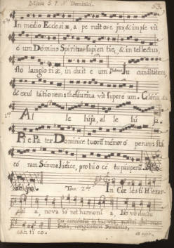 Click the image to view selected digital versions of items from the Mission Santa Clara Music Manuscripts.